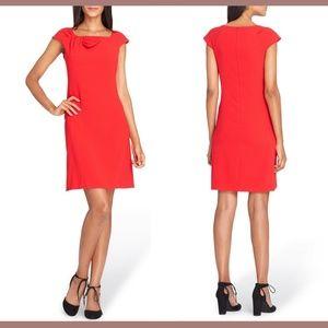 NEW Tahari Bow Neck Sheath Dress 6P Lipstick Red